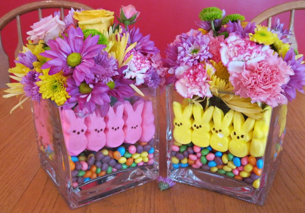 Easter centerpiece made from Peeps and flowers